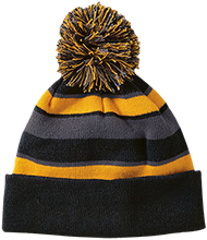 Anniversary Striped Beanie with Pom