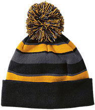 School Striped Beanie with Pom