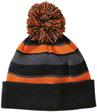 Come Play Detroit Come Play Detroit Striped Beanie with Pom