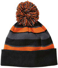 Birth Striped Beanie with Pom