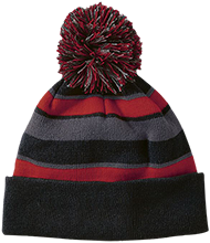 Saratoga School Bulldogs Striped Beanie with Pom