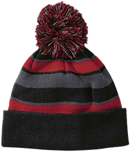 Meskwaki High School Warriors Striped Beanie with Pom