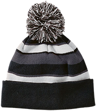 Mozart Elementary School Mustangs Striped Beanie with Pom