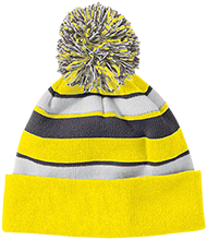 Grace Lutheran School Eagles Striped Beanie with Pom