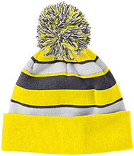Del Val Wrestling Wrestling Striped Beanie with Pom