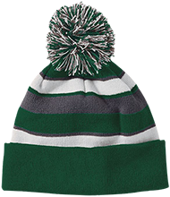 Rolland Warner Middle School Lightning Striped Beanie with Pom