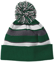 The Computer School Terrapins Striped Beanie with Pom