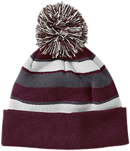 Silver Oak Academy Rams Striped Beanie with Pom