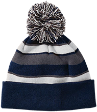 Hibbett Middle School Hawks Striped Beanie with Pom