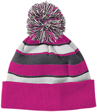 Watauga Harvest Christian Saints Striped Beanie with Pom
