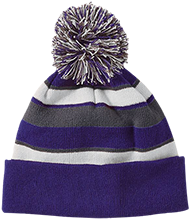 Blue Springs High School Wildcats Striped Beanie with Pom