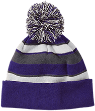 Lasalle II Falcons Striped Beanie with Pom