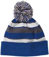 Delaware Township Elementary School Wildcats Striped Beanie with Pom