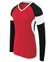Red Mesa High School Redskins Womens LS Colorblock Performance Jersey