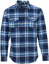 Longfellow Elementary School Dolphins Long Sleeve Plaid Flannel Shirt