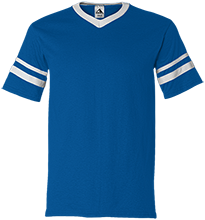 Plew Elementary School Blue Panthers V-Neck Sleeve Stripe Jersey