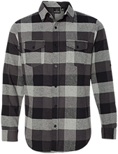 L F Dewing Elementary School Dolphins Long Sleeve Plaid Flannel Shirt