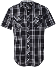 Milnor High School Bison Short Sleeve Plaid Shirt