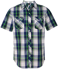Delphos St. John's Bluejays Short Sleeve Plaid Shirt