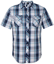 Round Lake Senior High School Panthers Short Sleeve Plaid Shirt