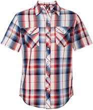 Hulett Public High School Red Devils Short Sleeve Plaid Shirt