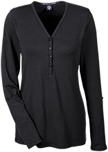 Poynette High School Pumas Ladies Henley Knit Top