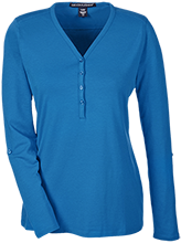 Saratoga Independent School Blue Streaks Ladies Henley Knit Top