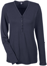Arkansas School For The Deaf Leopards Ladies Henley Knit Top