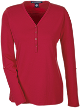 Cuyahoga Heights High School Redskins Ladies Henley Knit Top