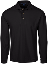 Adams Middle Panthers Long Sleeve Pique Knit Polo