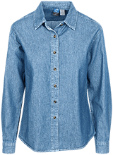 Pedee Elementary School Pioneers Womens Custom Embroidered Long Sleeve Denim Shirt