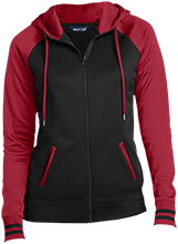 A A Milne Elementary Winnie The Pooh Ladies Sport-Wick® Varsity Fleece Full-Zip Hooded Jacket