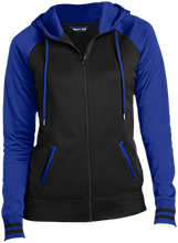 Bernie Junior Senior High School Mules Ladies Sport-Wick® Varsity Fleece Full-Zip Hooded Jacket
