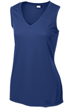Saratoga Independent School Blue Streaks Ladies Sleeveless Moisture Absorbing V-Neck