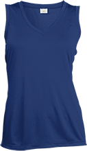Milford Middle School Buccaneers Ladies Sleeveless Moisture Absorbing V-Neck
