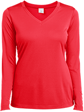 Ladies Long Sleeve Performance Vneck T-Shirt