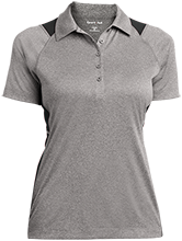 Lincoln Elementary School Bullpups Ladies Heather Moisture Wicking Polo