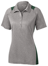 New Castle Chrysler High School Trojans Ladies Heather Moisture Wicking Polo