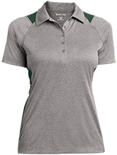 Harlan Elementary School Hawks Ladies Heather Moisture Wicking Polo