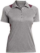 Bluffview Elementary School Tigers Ladies Heather Moisture Wicking Polo