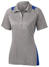 Henley Elementary School Honeybees Ladies Heather Moisture Wicking Polo