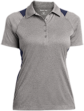 Crossroads Christian School Cougars Ladies Heather Moisture Wicking Polo