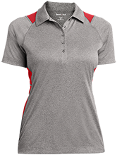 Travis Elementary School Mustangs Ladies Heather Moisture Wicking Polo