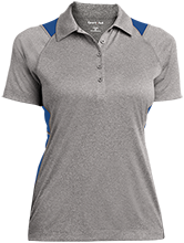 Maroa Elementary School Trojans Ladies Heather Moisture Wicking Polo