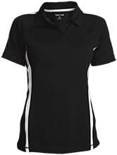 Travis Elementary School Mustangs Ladies Custom Colorblock Three Button Polo