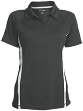 A B McDonald Elementary School Mcdonald Ducks Ladies Custom Colorblock Three Button Polo