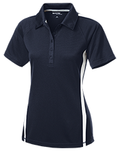 L H Day School Suns Ladies Custom Colorblock Three Button Polo