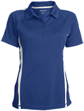 Milnor High School Bison Ladies Custom Colorblock Three Button Polo