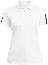 Rock Ledge Elementary School Raccoons Ladies Performance Textured Three-Button Polo
