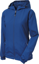 Duchesne Elementary School Dolphins Ladies Jersey-Lined Hooded Windbreaker